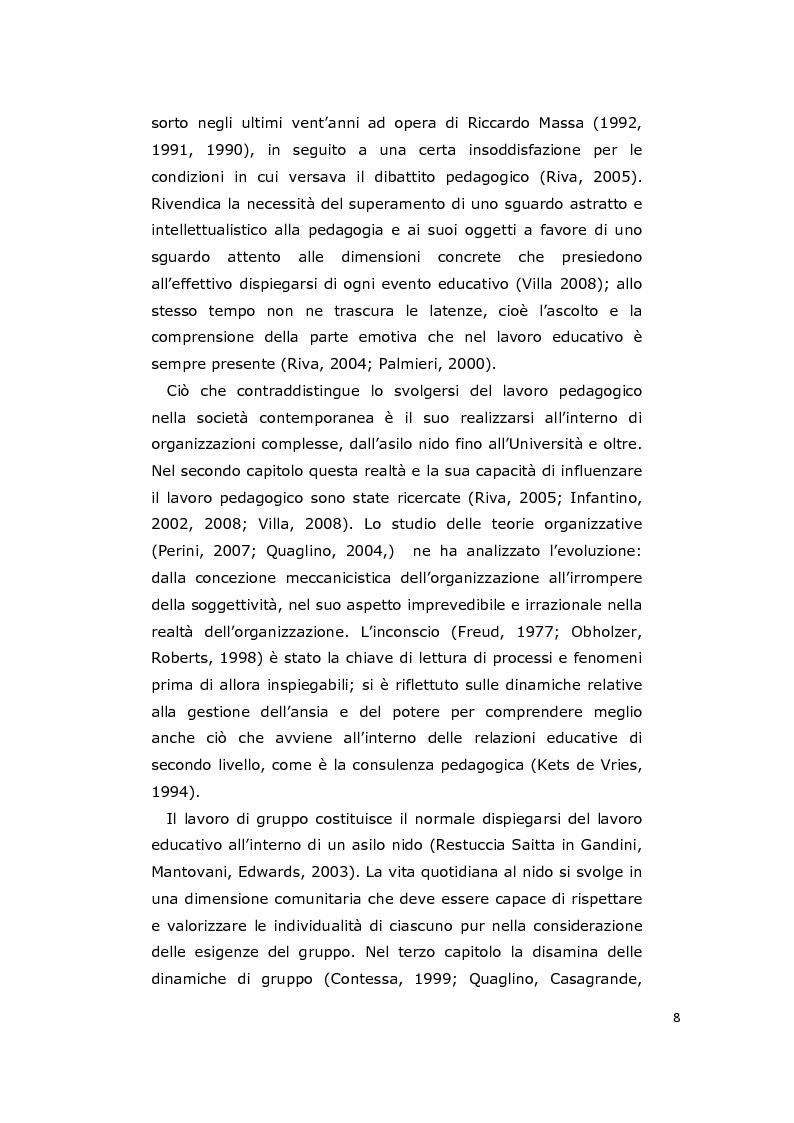 Anteprima della tesi: La consulenza pedagogica all'asilo nido come lettura dei processi e mediazione tra i partners educativi, Pagina 5