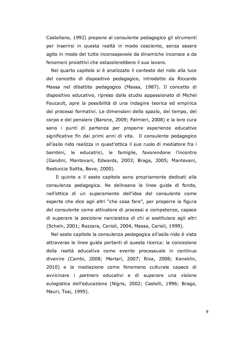 Anteprima della tesi: La consulenza pedagogica all'asilo nido come lettura dei processi e mediazione tra i partners educativi, Pagina 6