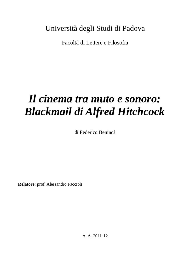 Anteprima della tesi: Il cinema tra muto e sonoro: Blackmail di Alfred Hitchcock, Pagina 1