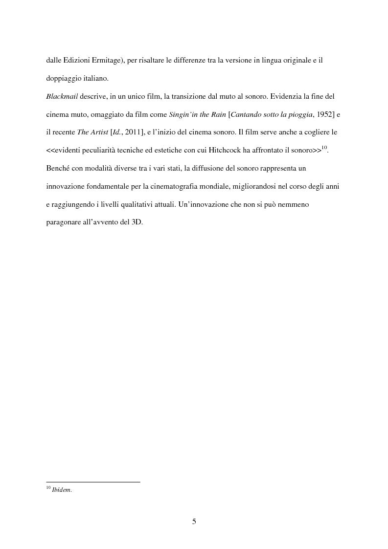 Anteprima della tesi: Il cinema tra muto e sonoro: Blackmail di Alfred Hitchcock, Pagina 5