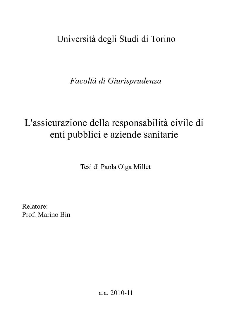Anteprima della tesi: L'assicurazione della responsabilità civile di enti pubblici e aziende sanitarie, Pagina 1