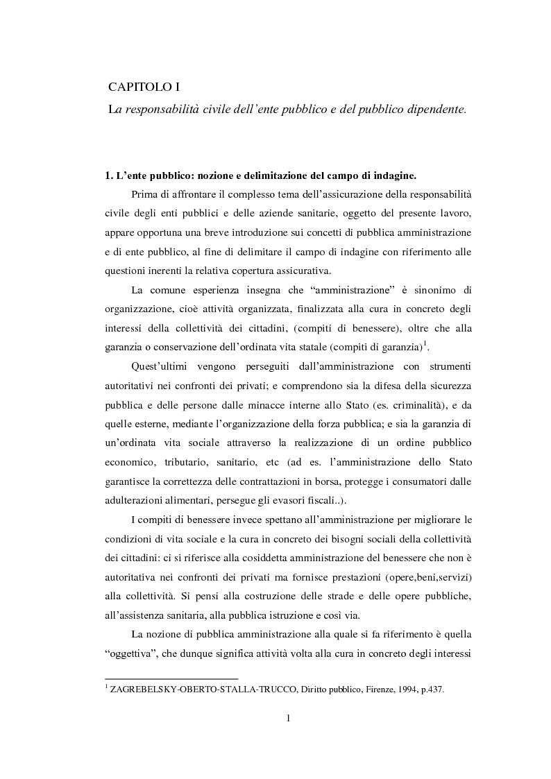 Anteprima della tesi: L'assicurazione della responsabilità civile di enti pubblici e aziende sanitarie, Pagina 2