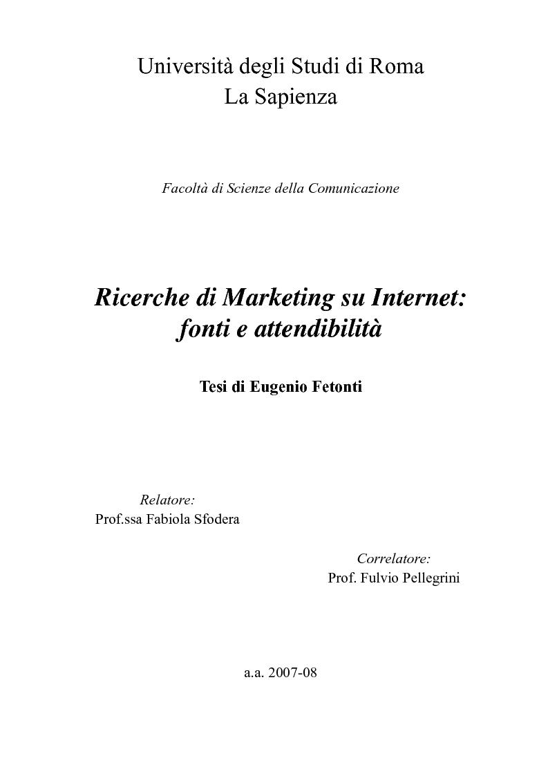 Anteprima della tesi: Ricerche di Marketing su Internet: fonti e attendibilità, Pagina 1