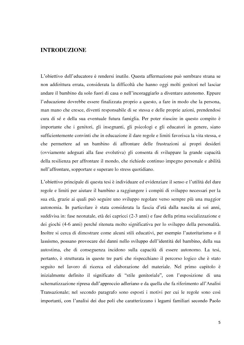 Anteprima della tesi: L'educazione del bambino dalla nascita ai sei anni - Come le regole genitoriali sono necessarie per uno sviluppo armonico della personalità, Pagina 2