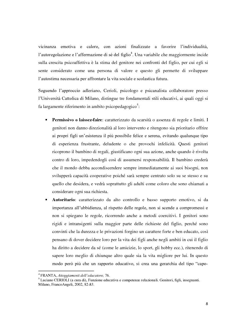 Anteprima della tesi: L'educazione del bambino dalla nascita ai sei anni - Come le regole genitoriali sono necessarie per uno sviluppo armonico della personalità, Pagina 5