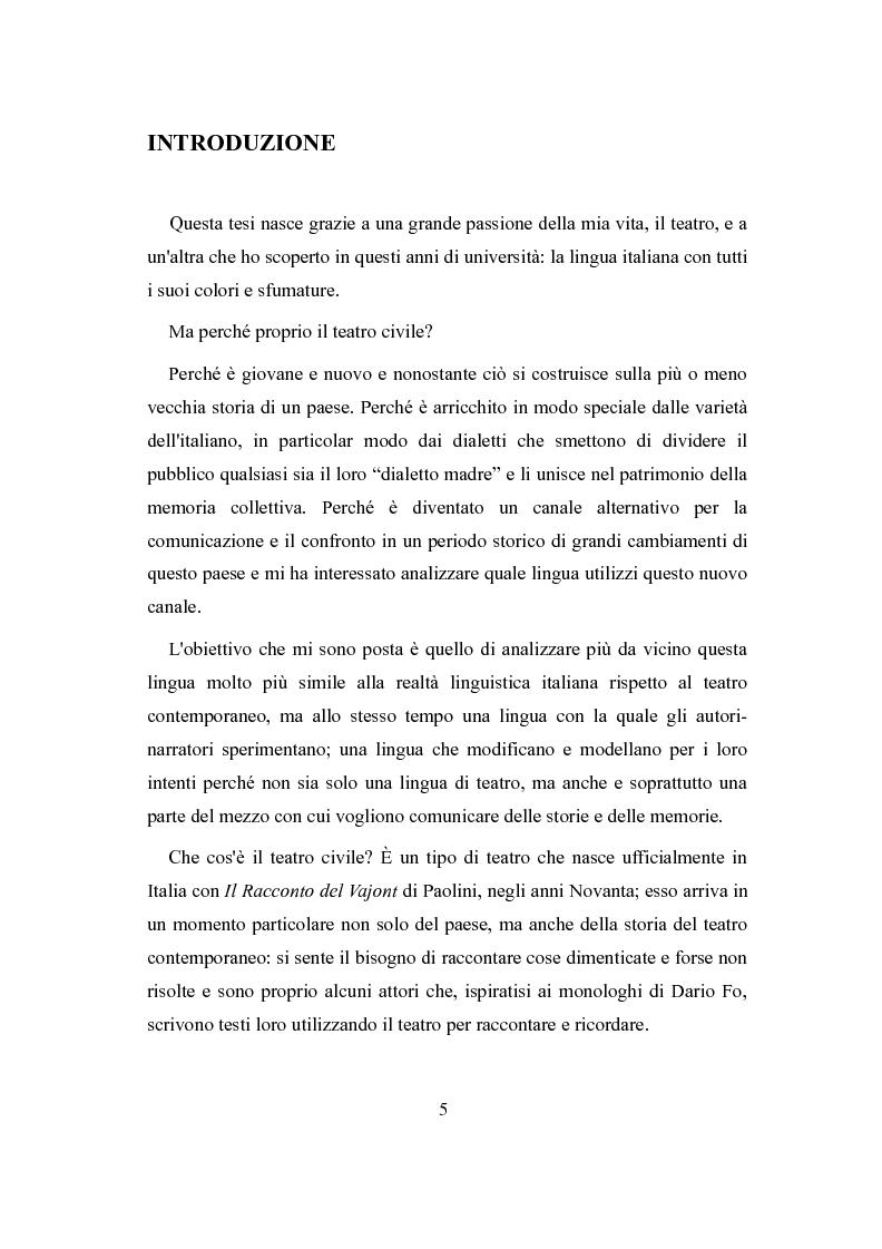 Anteprima della tesi: La lingua del teatro civile - analisi dei testi di Marco Paolini, Pagina 2