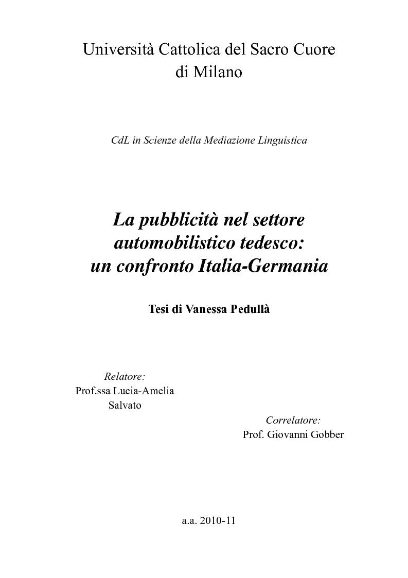 Anteprima della tesi: La pubblicità nel settore automobilistico tedesco: un confronto Italia-Germania., Pagina 1