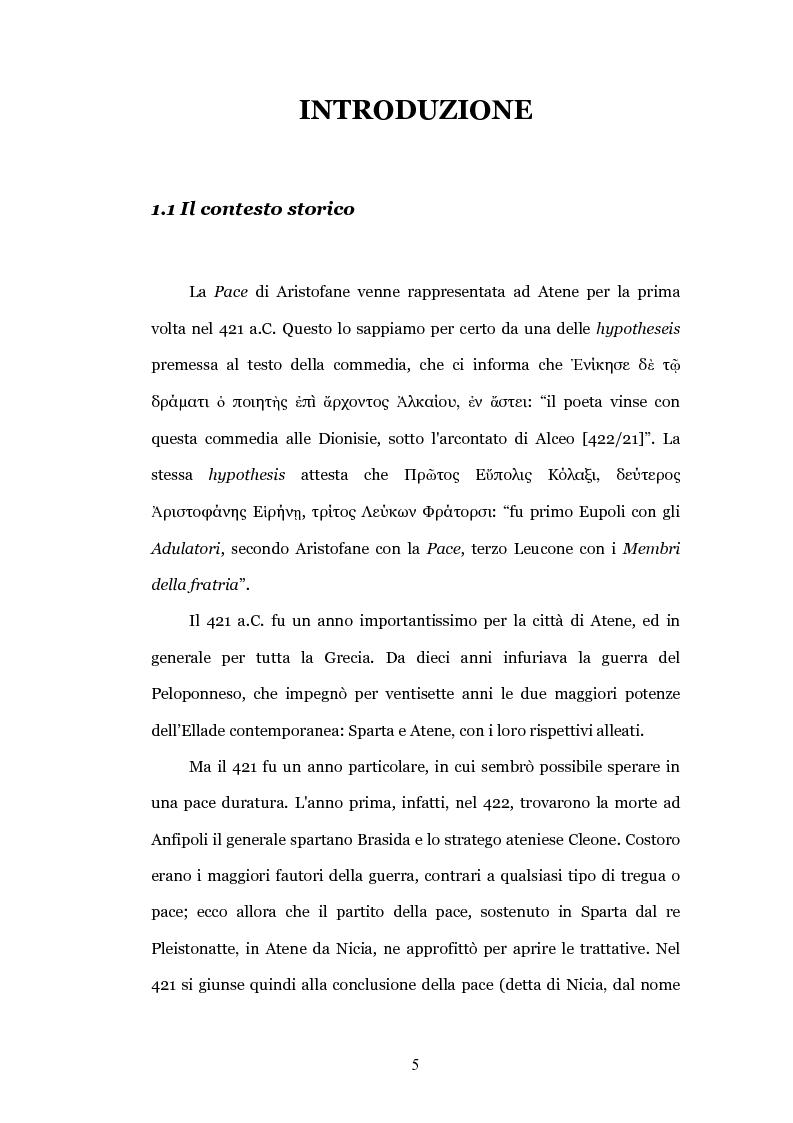 """Anteprima della tesi: Il teatro contro la guerra: la """"Pace"""" di Aristofane, Pagina 2"""