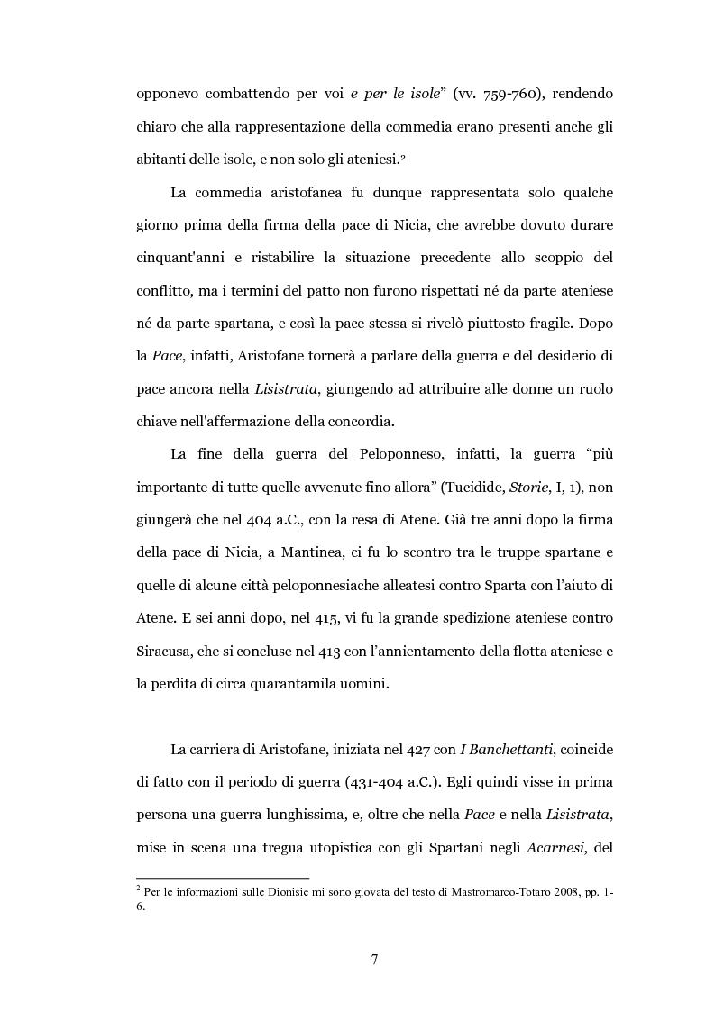 """Anteprima della tesi: Il teatro contro la guerra: la """"Pace"""" di Aristofane, Pagina 4"""