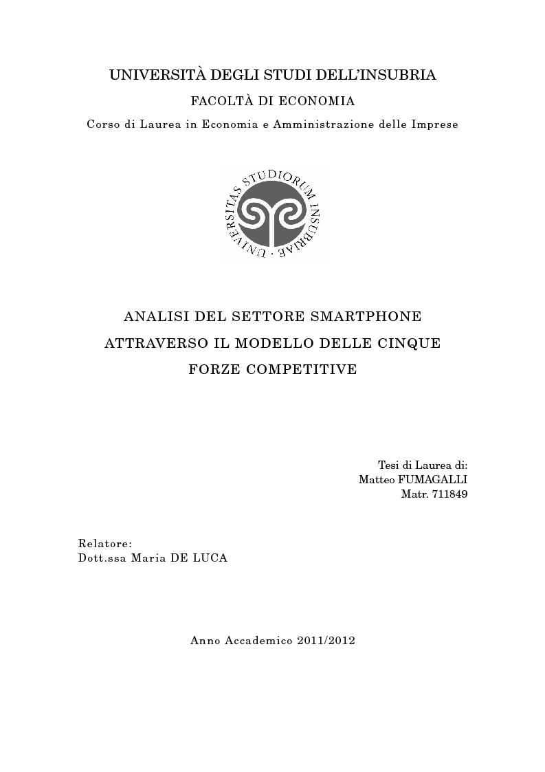 Anteprima della tesi: Analisi del settore smartphone attraverso il modello delle cinque forze competitive, Pagina 1
