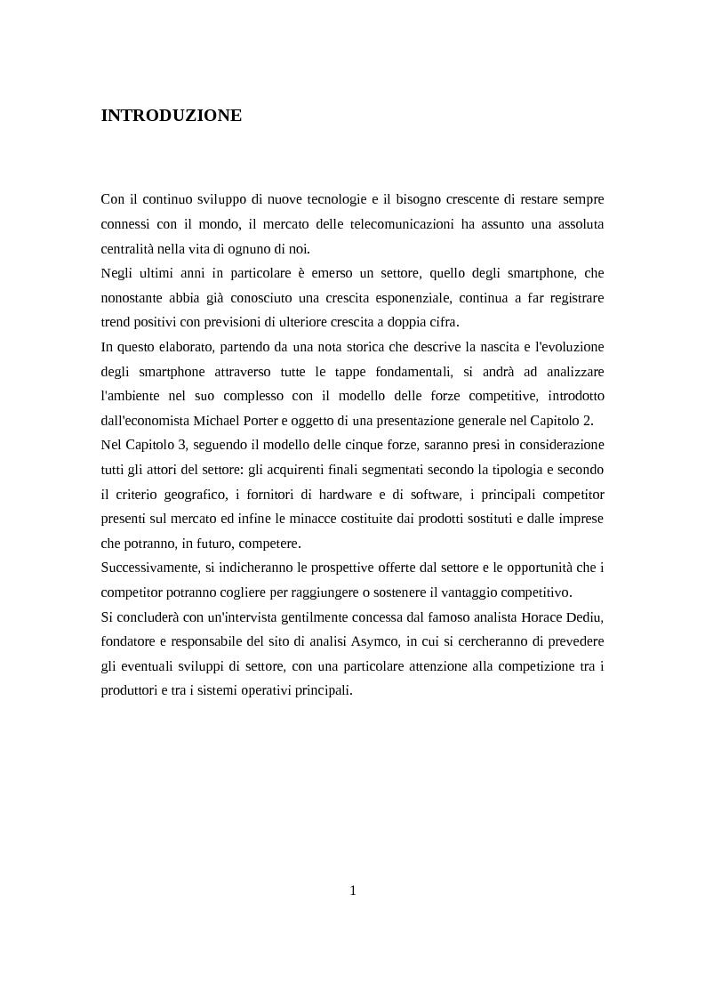 Anteprima della tesi: Analisi del settore smartphone attraverso il modello delle cinque forze competitive, Pagina 2