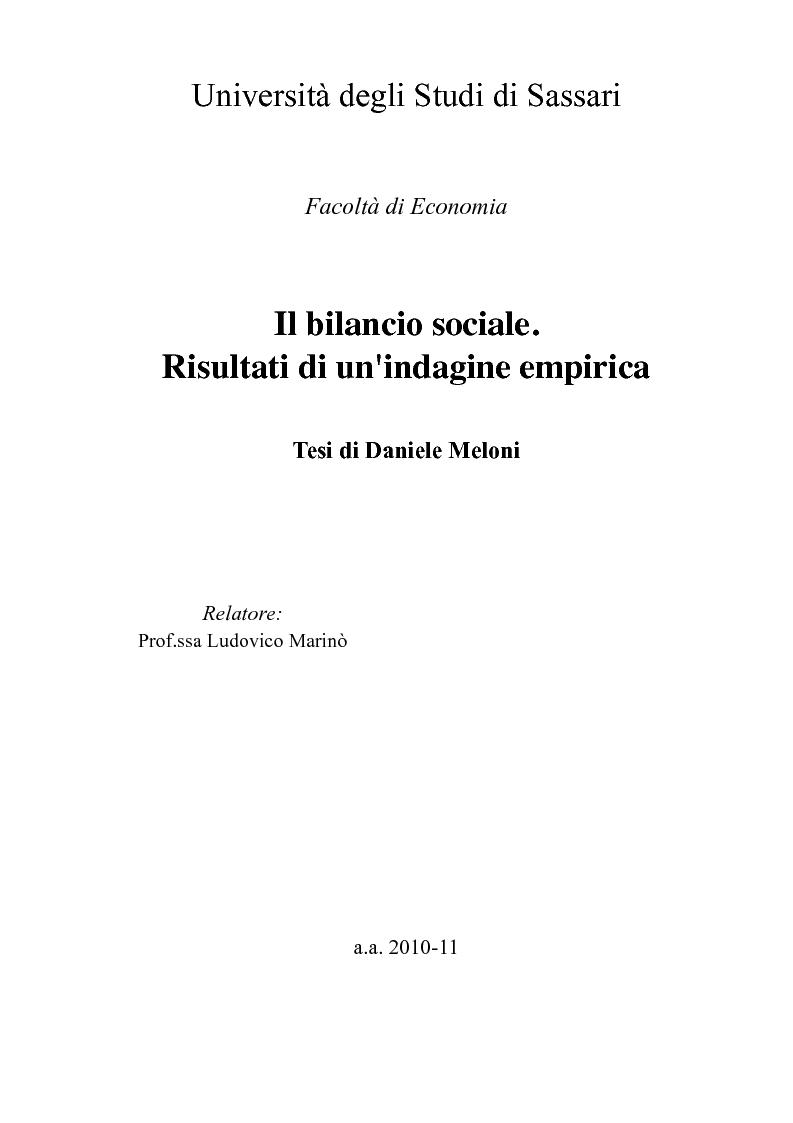 Anteprima della tesi: Il bilancio sociale. Risultati di un'indagine empirica, Pagina 1