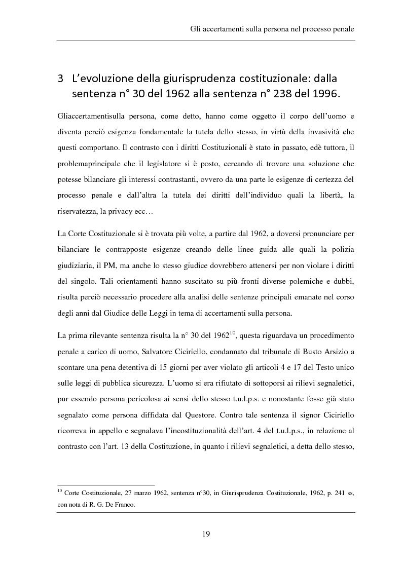 Anteprima della tesi: Gli accertamenti sulla persona nel processo penale, Pagina 10