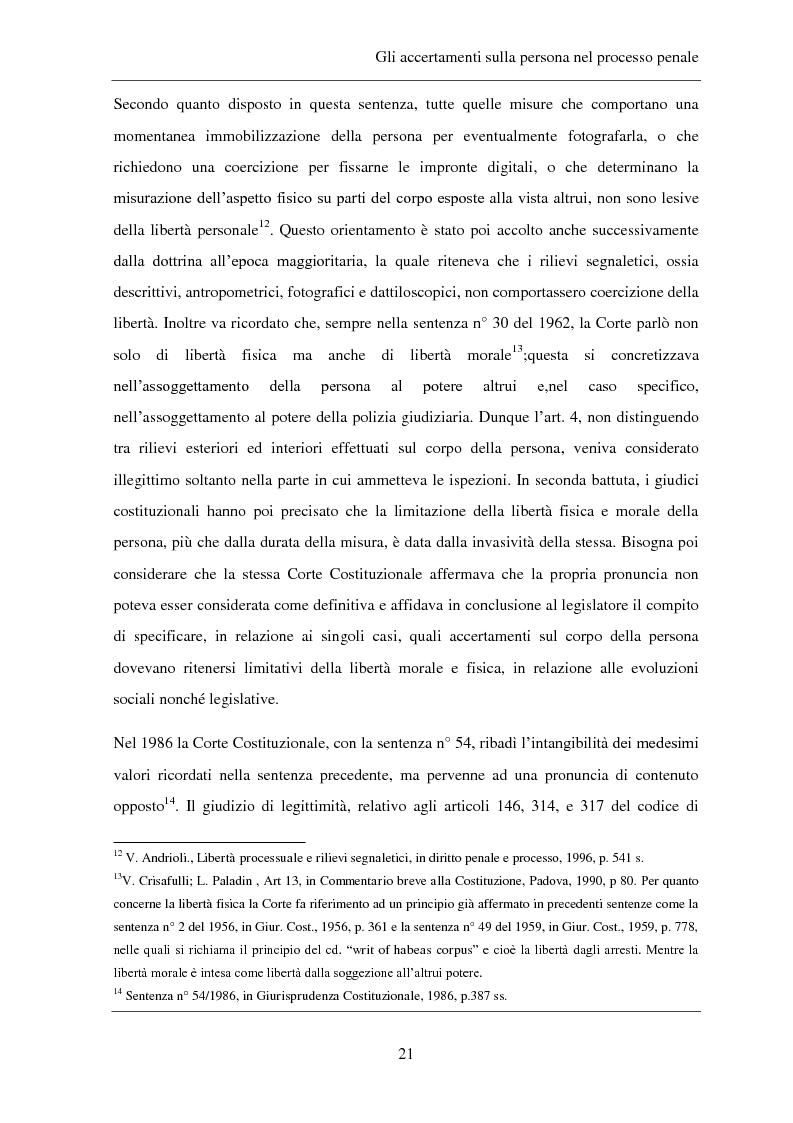 Anteprima della tesi: Gli accertamenti sulla persona nel processo penale, Pagina 12