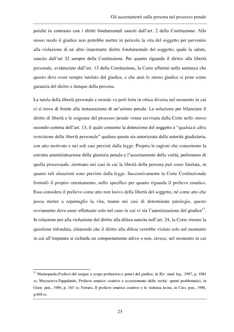 Anteprima della tesi: Gli accertamenti sulla persona nel processo penale, Pagina 14