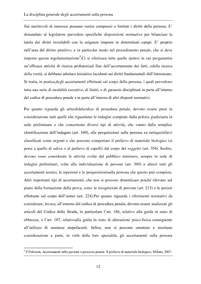 Anteprima della tesi: Gli accertamenti sulla persona nel processo penale, Pagina 3