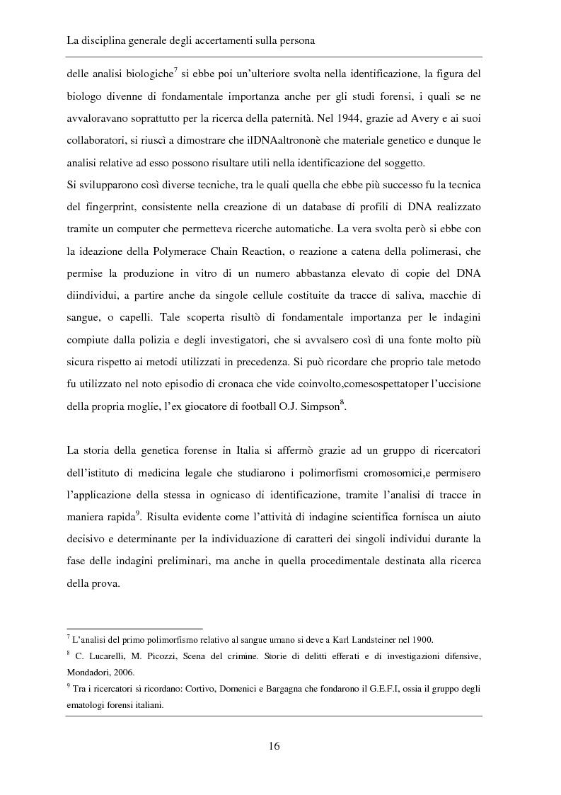 Anteprima della tesi: Gli accertamenti sulla persona nel processo penale, Pagina 7