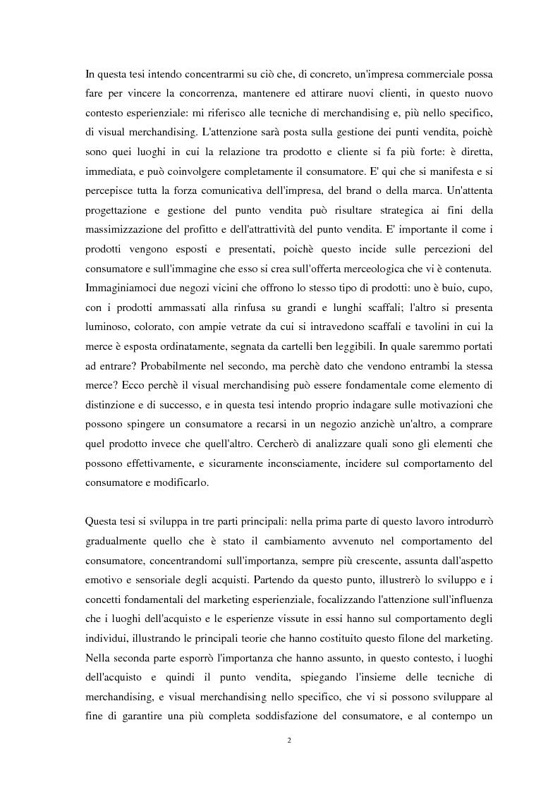 Anteprima della tesi: Nuove strategie di Marketing Esperienziale: il ruolo del Visual Merchandising come fattore d'influenza all'acquisto, Pagina 3