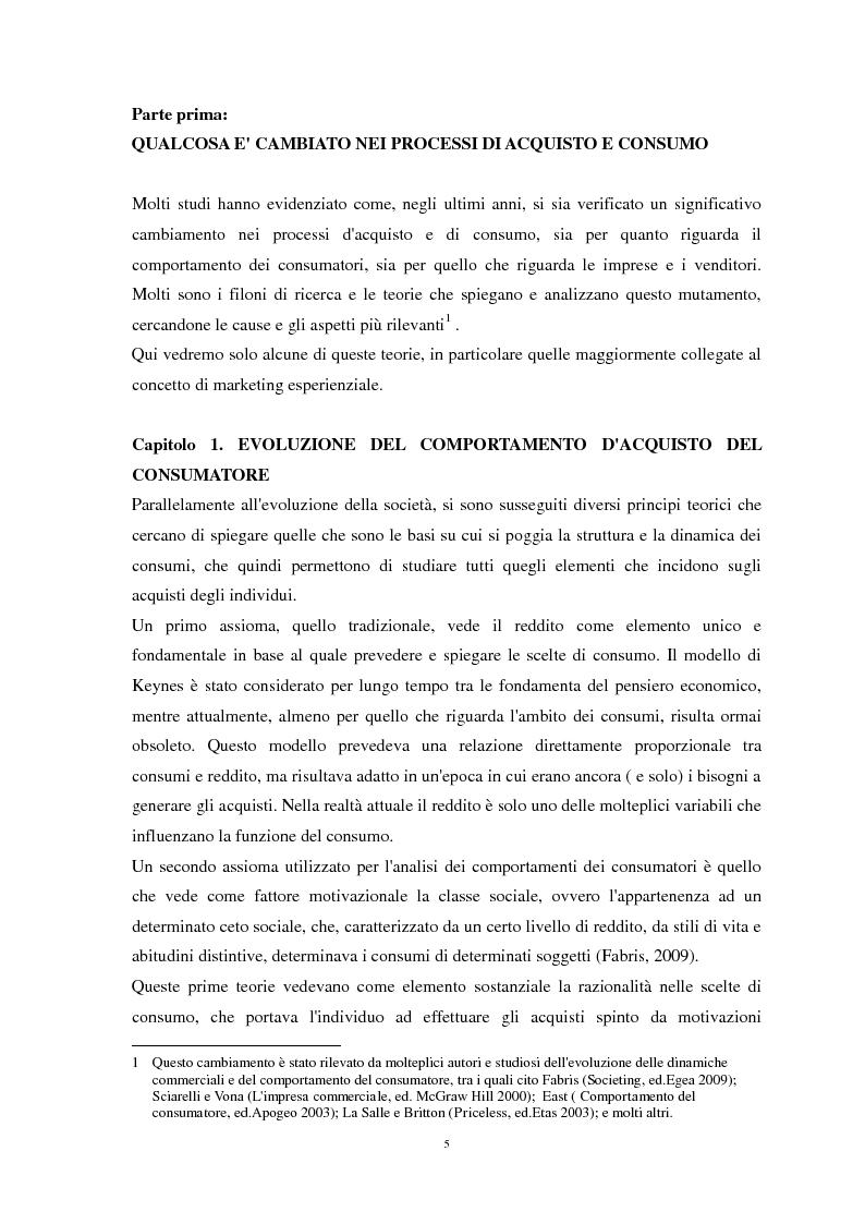 Anteprima della tesi: Nuove strategie di Marketing Esperienziale: il ruolo del Visual Merchandising come fattore d'influenza all'acquisto, Pagina 5