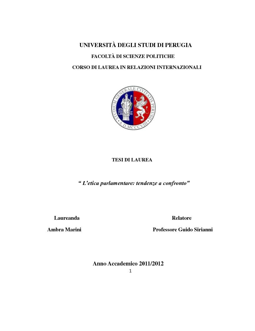 Anteprima della tesi: L'etica parlamentare: tendenze a confronto., Pagina 1