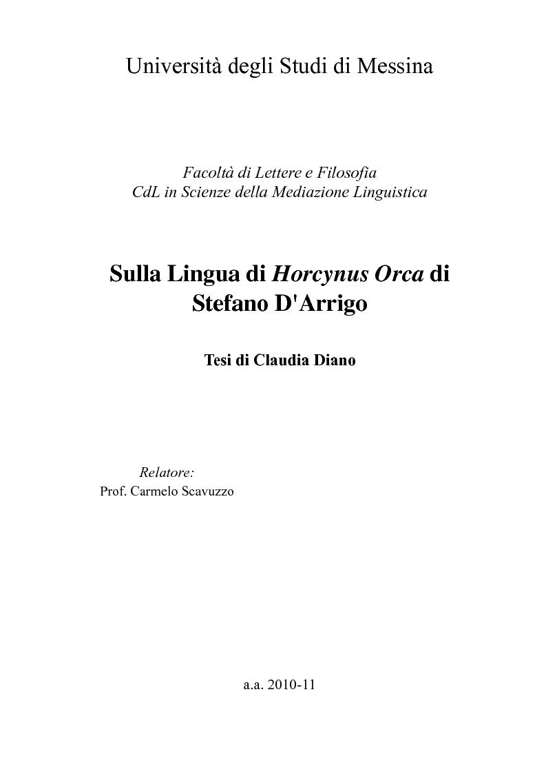 Anteprima della tesi: Sulla Lingua di ''Horcynus Orca'' di Stefano D'Arrigo, Pagina 1