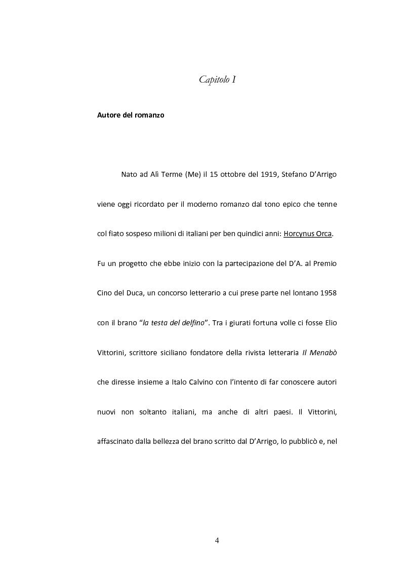 Anteprima della tesi: Sulla Lingua di ''Horcynus Orca'' di Stefano D'Arrigo, Pagina 5
