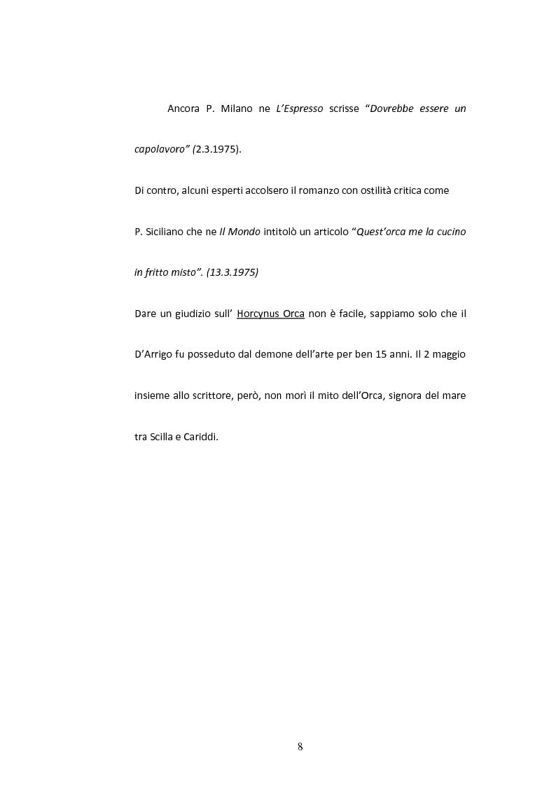 Anteprima della tesi: Sulla Lingua di ''Horcynus Orca'' di Stefano D'Arrigo, Pagina 9