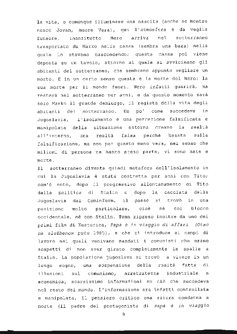 Anteprima della tesi: ''Underground'' di Emir Kusturica: comunicazione e manipolazione, Pagina 10