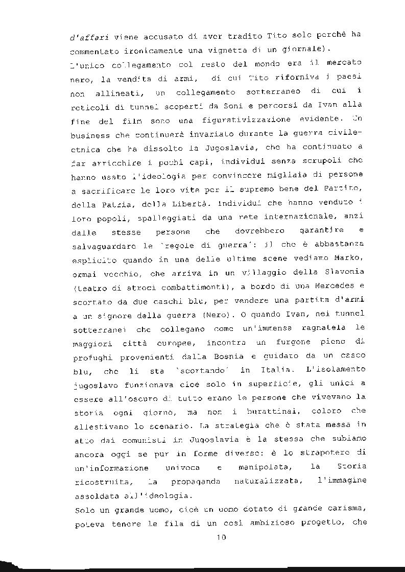 Anteprima della tesi: ''Underground'' di Emir Kusturica: comunicazione e manipolazione, Pagina 11