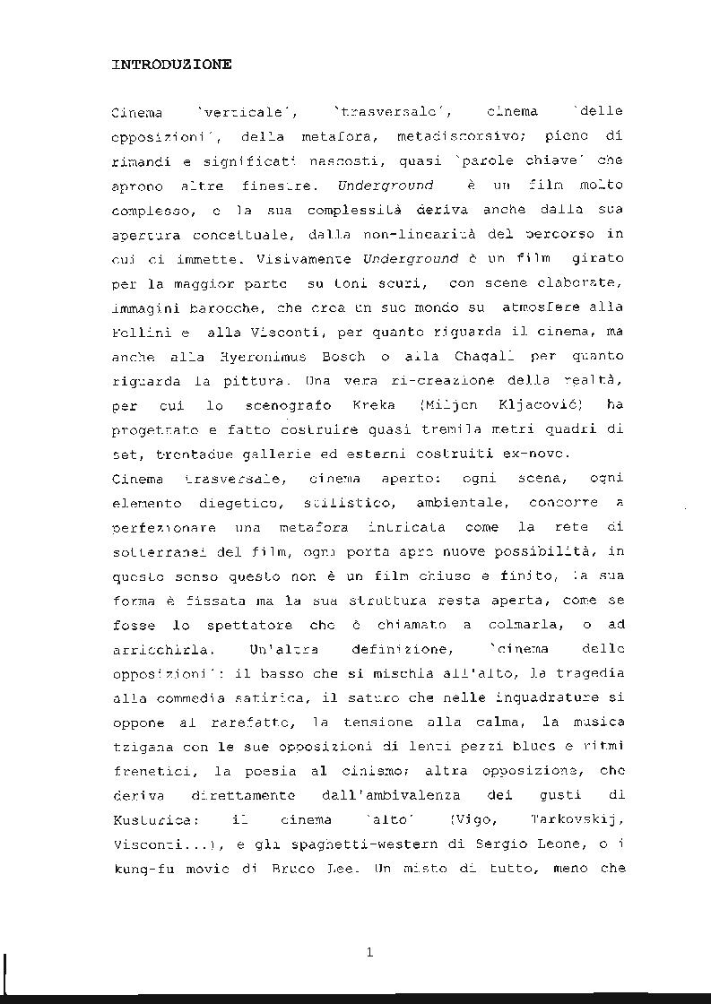 Anteprima della tesi: ''Underground'' di Emir Kusturica: comunicazione e manipolazione, Pagina 2