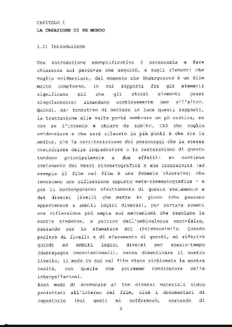 Anteprima della tesi: ''Underground'' di Emir Kusturica: comunicazione e manipolazione, Pagina 6