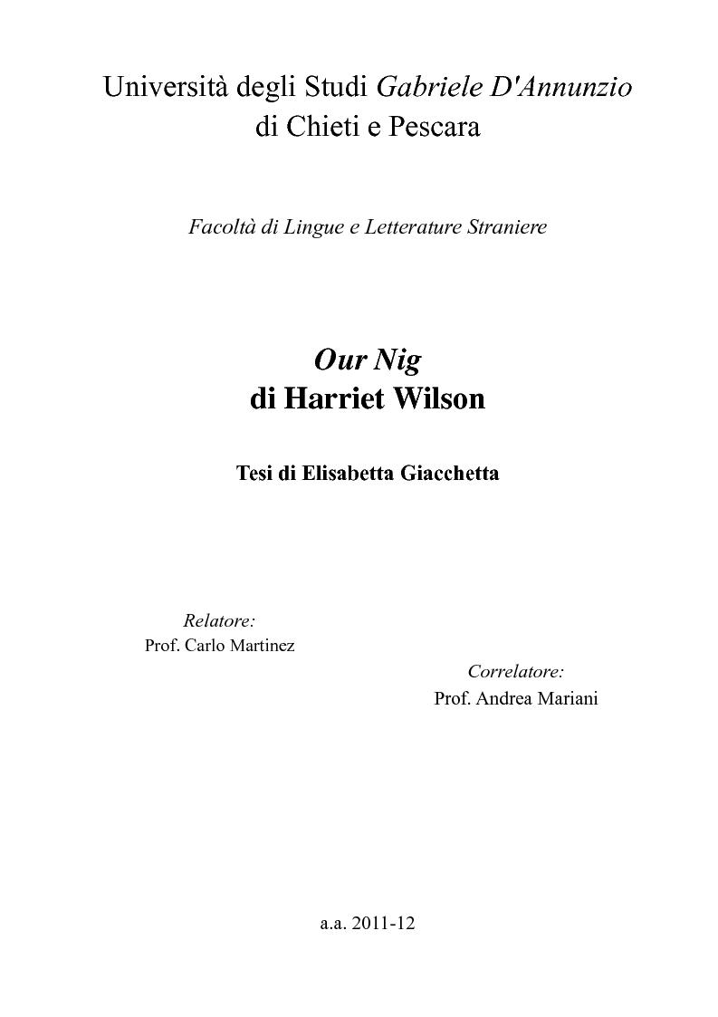 """Anteprima della tesi: """"Our Nig"""" di Harriet Wilson, Pagina 1"""