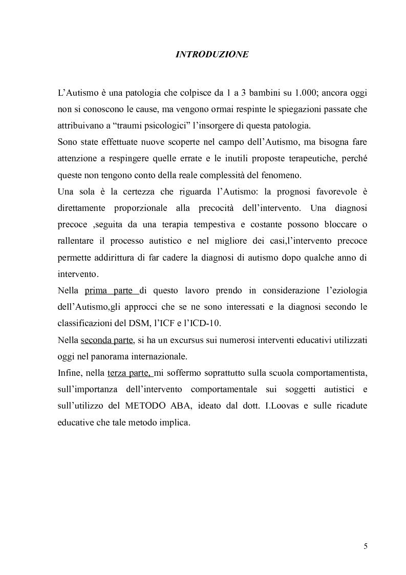 Anteprima della tesi: Innovazioni nel trattamento psicopedagogico dell'autismo: il metodo A.B.A, Pagina 4