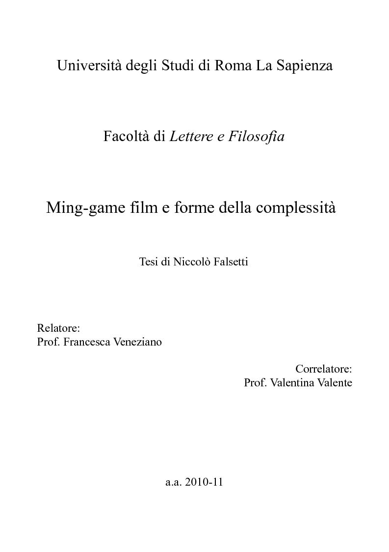 Anteprima della tesi: Mind-game film e forme della complessità, Pagina 1