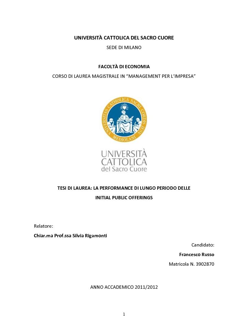 Anteprima della tesi: La performance di lungo periodo delle Initial public offerings, Pagina 1