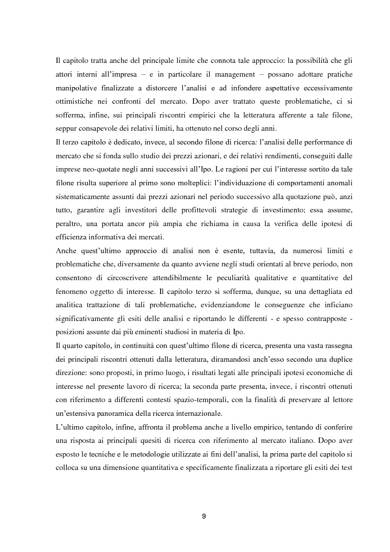 Anteprima della tesi: La performance di lungo periodo delle Initial public offerings, Pagina 5