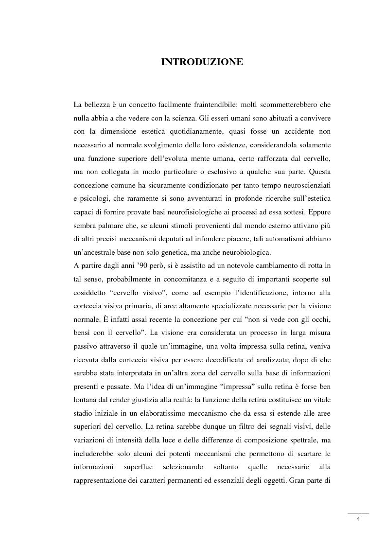 Anteprima della tesi: Il riconoscimento della bellezza. Basi neurofisiologiche del piacere estetico, Pagina 2