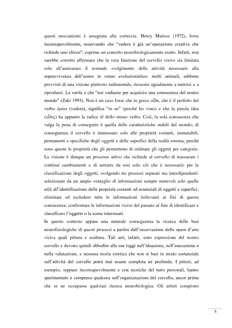 Anteprima della tesi: Il riconoscimento della bellezza. Basi neurofisiologiche del piacere estetico, Pagina 3