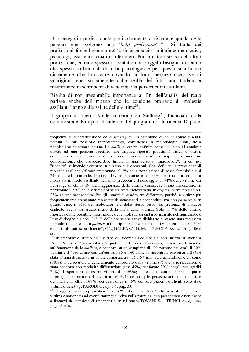 Anteprima della tesi: Stalking: quando le attenzioni diventano persecuzione. La risposta penalistica (art. 612-bis c.p.), Pagina 10