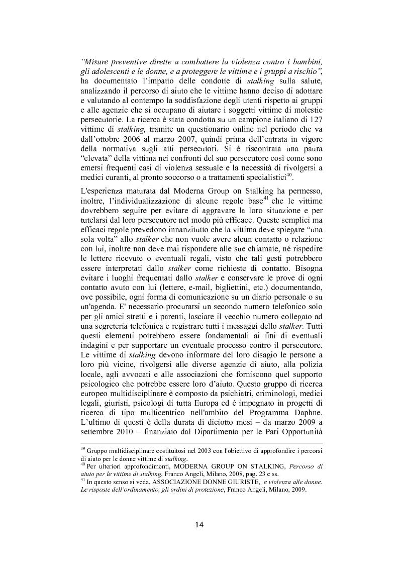 Anteprima della tesi: Stalking: quando le attenzioni diventano persecuzione. La risposta penalistica (art. 612-bis c.p.), Pagina 11