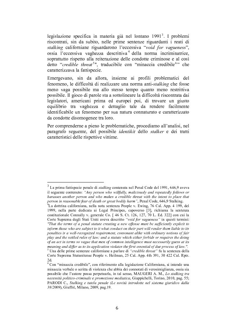 Anteprima della tesi: Stalking: quando le attenzioni diventano persecuzione. La risposta penalistica (art. 612-bis c.p.), Pagina 3