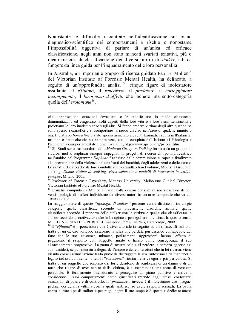 Anteprima della tesi: Stalking: quando le attenzioni diventano persecuzione. La risposta penalistica (art. 612-bis c.p.), Pagina 5