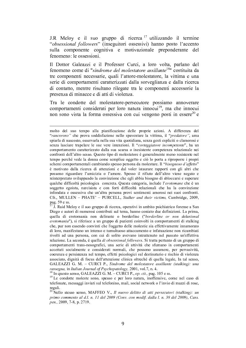 Anteprima della tesi: Stalking: quando le attenzioni diventano persecuzione. La risposta penalistica (art. 612-bis c.p.), Pagina 6