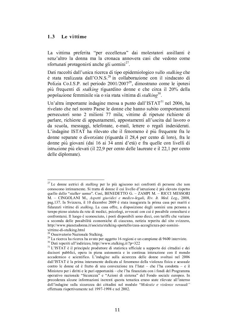 Anteprima della tesi: Stalking: quando le attenzioni diventano persecuzione. La risposta penalistica (art. 612-bis c.p.), Pagina 8