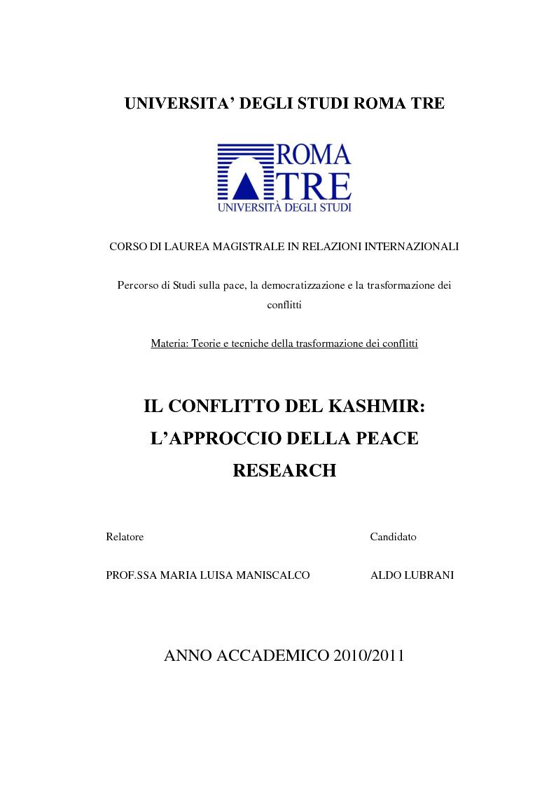 Anteprima della tesi: Il conflitto del Kashmir: l'approccio della Peace Research, Pagina 1
