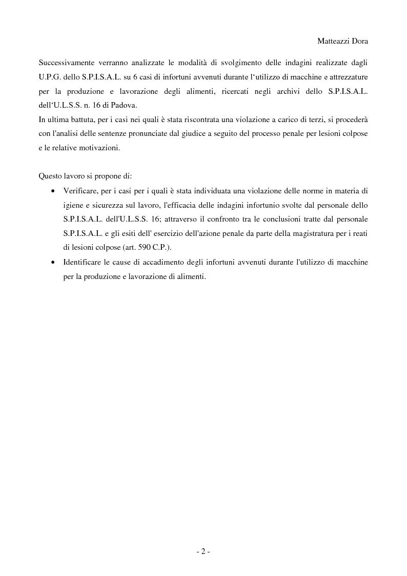 Anteprima della tesi: Esiti analisi e commento degli infortuni sul lavoro accaduti nel territorio di competenza dell'azienda ULSS n°16 di Padova nel comparto alimentare durante l'utilizzo di macchine, Pagina 3