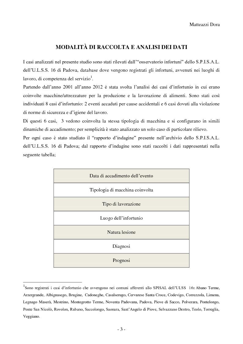 Anteprima della tesi: Esiti analisi e commento degli infortuni sul lavoro accaduti nel territorio di competenza dell'azienda ULSS n°16 di Padova nel comparto alimentare durante l'utilizzo di macchine, Pagina 4