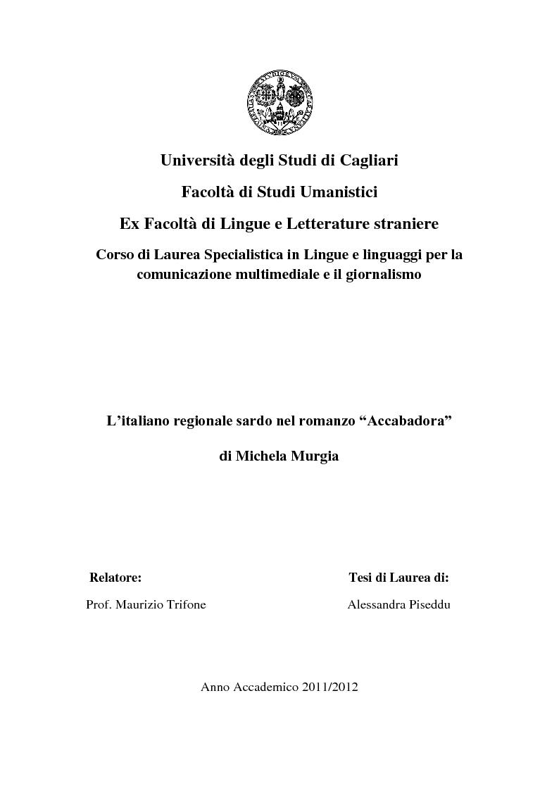"""Anteprima della tesi: L'italiano regionale sardo nel romanzo """"Accabadora"""" di Michela Murgia, Pagina 1"""