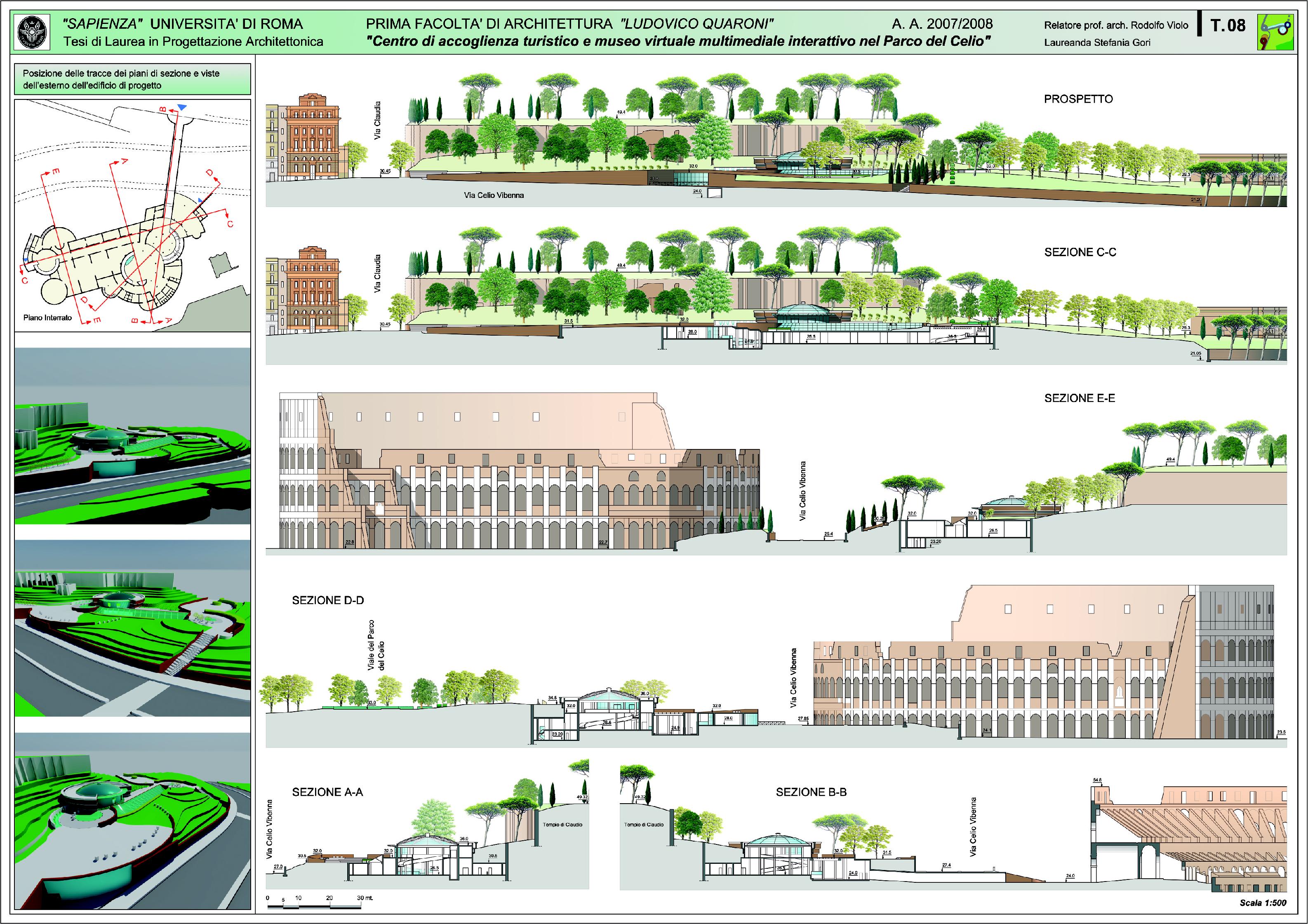 Anteprima della tesi: Progettazione architettonica di un centro di accoglienza turistico e museo virtuale multimediale interattivo nel parco del Celio, Pagina 1