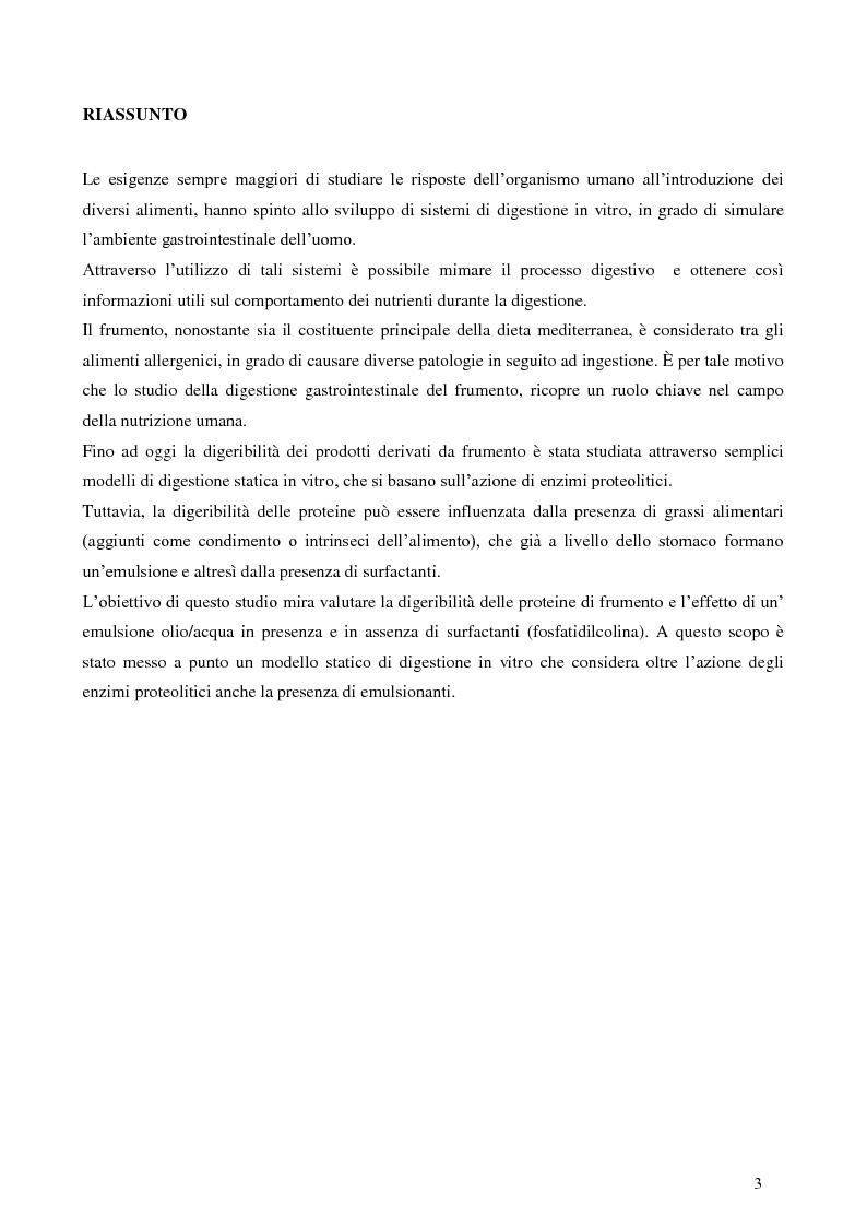 Anteprima della tesi: Digestione gastrica in vitro delle proteine di frumento, Pagina 2